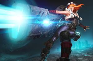 Pictures Warrior Shards of War Redhead girl Firing Zel Games Fantasy Girls