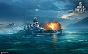 Image World Of Warship Ships Japanese Firing Battleship Mutsu vdeo game Army
