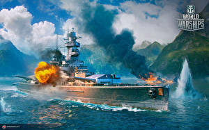 Photo World Of Warship Ships German Firing Cruiser Admiral Graf Spee vdeo game Army