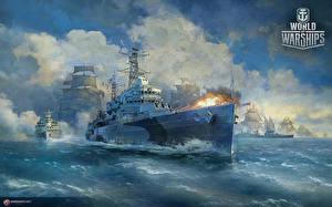 Wallpapers World Of Warship Ships British Firing Cruiser HMS Belfast Games Army