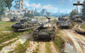 Bilder World of Tanks Panzer Selbstfahrlafette T-34 M4 Sherman Russische Britisch Amerikanisch IS-2, ISU-122S, Cromwell B, M4A3E8 Thunderbolt VII Spiele