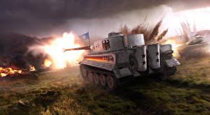 Hintergrundbilder Panzer WOT Deutsch Hinten Tiger Spiele