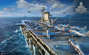 Pictures Aircraft carrier Fighter Airplane World Of Warship Ships American Midway vdeo game Army
