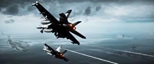Fotos Flugzeuge Flugzeugträger Battlefield 3 Schlachtflugzeug computerspiel 3D-Grafik