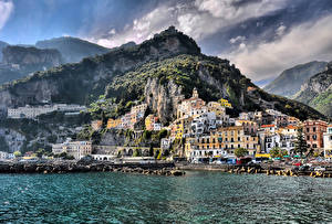 Images Amalfi Italy Houses Coast Crag Cities