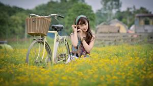 Hintergrundbilder Asiatisches Felder Fahrrad Weidenkorb junge frau
