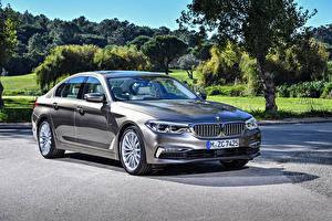 Hintergrundbilder BMW Grau 2017 520d Sedan Luxury Line Worldwide Autos