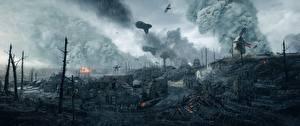 Fotos Battlefield 1 Regen Ruinen Krieg Spiele 3D-Grafik