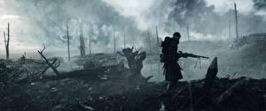 Wallpaper Battlefield 1 Soldier Machine guns Rain War Games 3D_Graphics