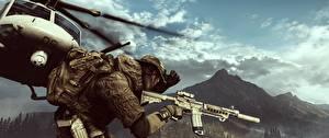 Fotos Battlefield 4 Soldat Sturmgewehr Hubschrauber Amerikanischer computerspiel 3D-Grafik