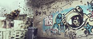 Picture Battlefield 4 Soldier Graffiti American Jump vdeo game 3D_Graphics