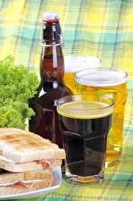 Pictures Beer Butterbrot Highball glass Bottles Food