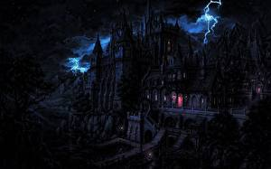 Bakgrundsbilder på skrivbordet Borg Gotisk fantasi På natten Blixtar Fantasy