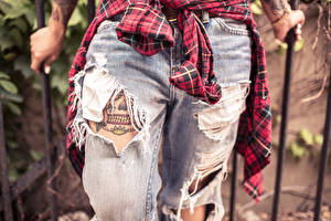 Images Closeup Jeans Tattoos Legs