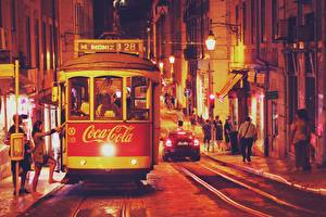 Wallpaper Coca-Cola Portugal Lisbon Night time Night Tram Cities
