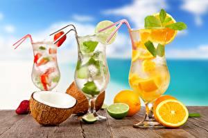 Image Cocktail Mojito Orange fruit Lime Coconuts Stemware
