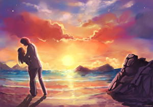 Picture Couples in love Coast Sunrises and sunsets Love Fantasy