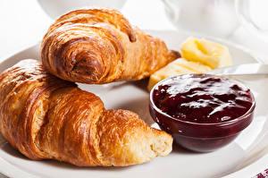 Hintergrundbilder Croissant Großansicht Konfitüre Frühstück