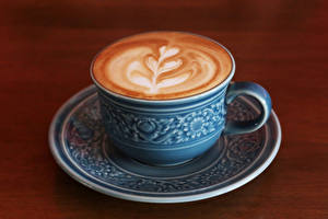 Pictures Drinks Coffee Cappuccino Wood planks Cup Food