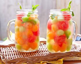 Bilder Getränke Obst Zwei Becher Einweckglas Lebensmittel
