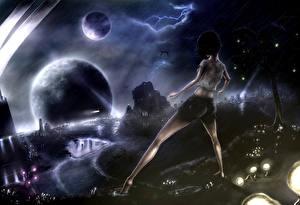 Bilder Fantastische Welt Planeten Nacht Blitz Fantasy