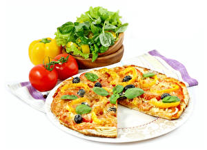 Wallpapers Fast food Pizza Tomatoes White background Basil Food