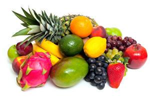 Photo Fruit Dragon fruit Avocado Grapes Apples White background Food