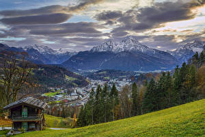 Pictures Germany Mountains Building Sky Scenery Bavaria Trees Clouds Nature