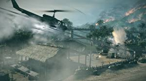 Desktop hintergrundbilder Hubschrauber Battlefield: Bad Company Schuss 2 computerspiel 3D-Grafik