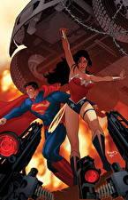 Bakgrunnsbilder Superhelter Wonder Woman helten Supermann helten To 2