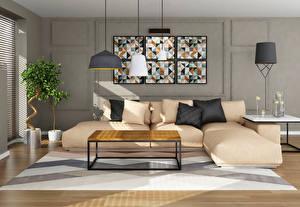 Image Interior Design Sofa Lamp Pillows High-tech style 3D Graphics