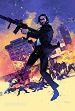 Pictures Keanu Reeves Men Assault rifle John Wick: Chapter 2 Fan ART Movies