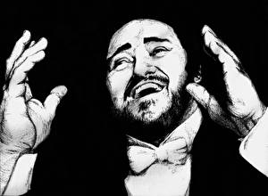 Photo Luciano Pavarotti Man Painting Art Black and white Black background