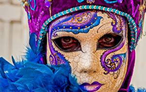 Papéis de parede Máscara Carnaval e baile de máscaras En gran plano