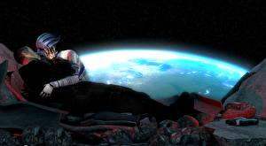 Wallpaper Mass Effect Liara Shepard 2 Kiss Aliens vdeo game 3D_Graphics 3D_Graphics