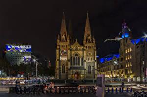 Picture Melbourne Australia Building Temple Night Cities
