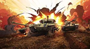 Bureaubladachtergronden Tanks Geschilderde Explosie World of Tanks Russische Britse Amerikaanse videogames