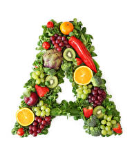 Pictures Bell pepper Vegetables Fruit Grapes Kiwi Strawberry White background Design A Food