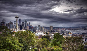 Bilder Seattle Vereinigte Staaten Haus Himmel Abend HDRI Städte