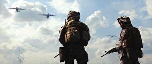 Images Soldier Assault rifle Military war helmet Battlefield 3 Two American Games 3D_Graphics