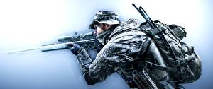 Photo Soldiers Sniper rifle Battlefield 4 Snipers Hat US US Recon vdeo game 3D_Graphics