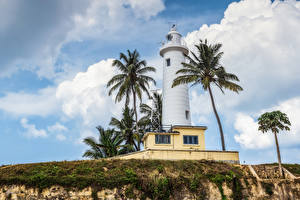 Hintergrundbilder Sri Lanka Leuchtturm Himmel Palmengewächse Galle Natur