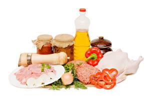 Hintergrundbilder Stillleben Peperone Zwiebel Fleischwaren Weißer hintergrund Flasche Weckglas Lebensmittel