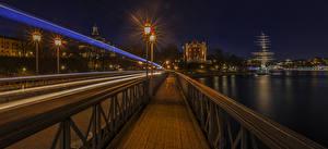 Hintergrundbilder Stockholm Schweden Brücken Haus Flusse Nacht Straßenlaterne Geschwindigkeit Städte