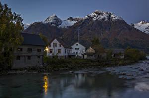 Bilder Schweden Haus Flusse Gebirge Abend
