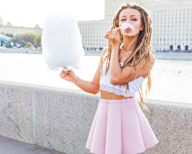 Images Confectionery Locs Blonde girl Skirt young woman