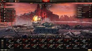 Hintergrundbilder Panzer T-34 World of Tanks Russische
