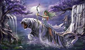 Wallpaper Tigers Archers Warrior World of WarCraft Jump Tyrande Whisperwind Games Fantasy Girls