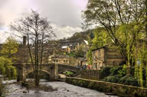 Photo United Kingdom Houses Bridges Rivers Trees Hepden Bridge Yorkshire Cities