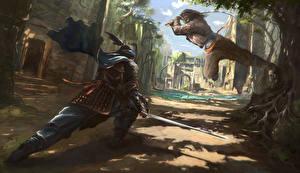 Desktop wallpapers Warrior Fighting 2 Samurai Fantasy
